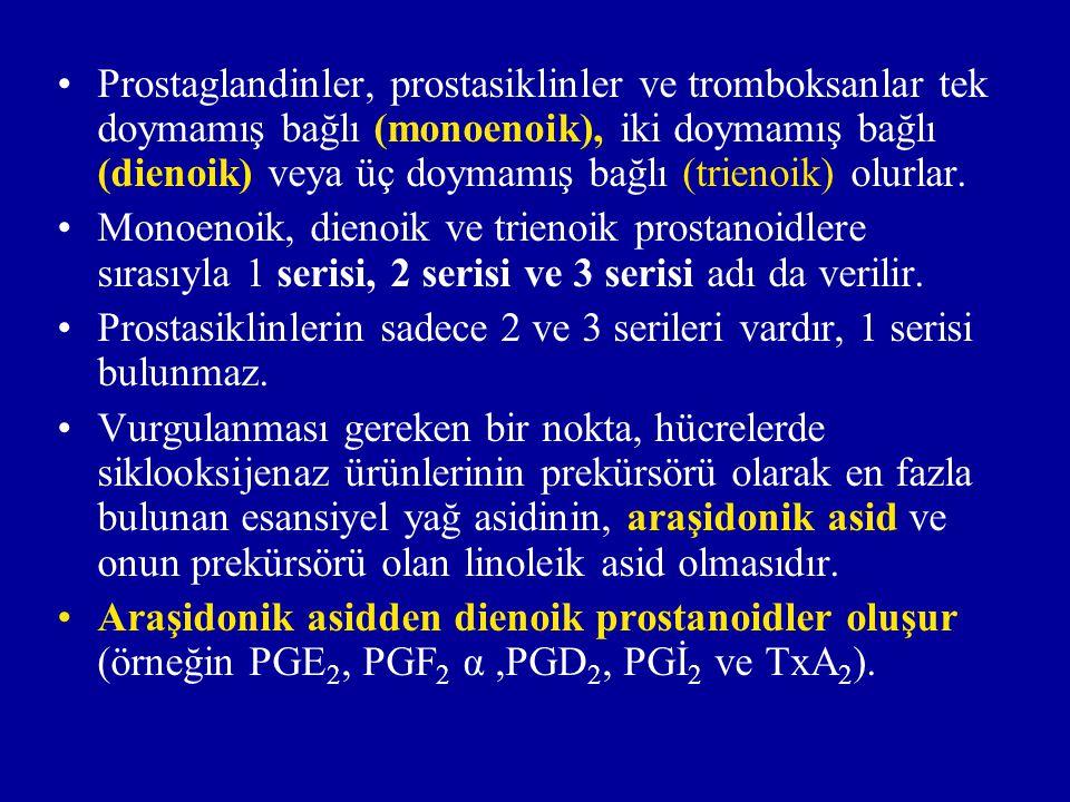 Biyosentez: Prostaglandinlerin, prostasiklinlerin ve tromboksanların biyosentezi üç basamaklıdır: A)Membran fosfolipidlerinden serbest yağ asidlerinin oluşması.