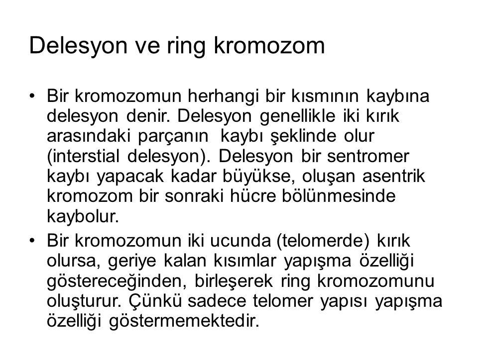 Delesyon ve ring kromozom Bir kromozomun herhangi bir kısmının kaybına delesyon denir.
