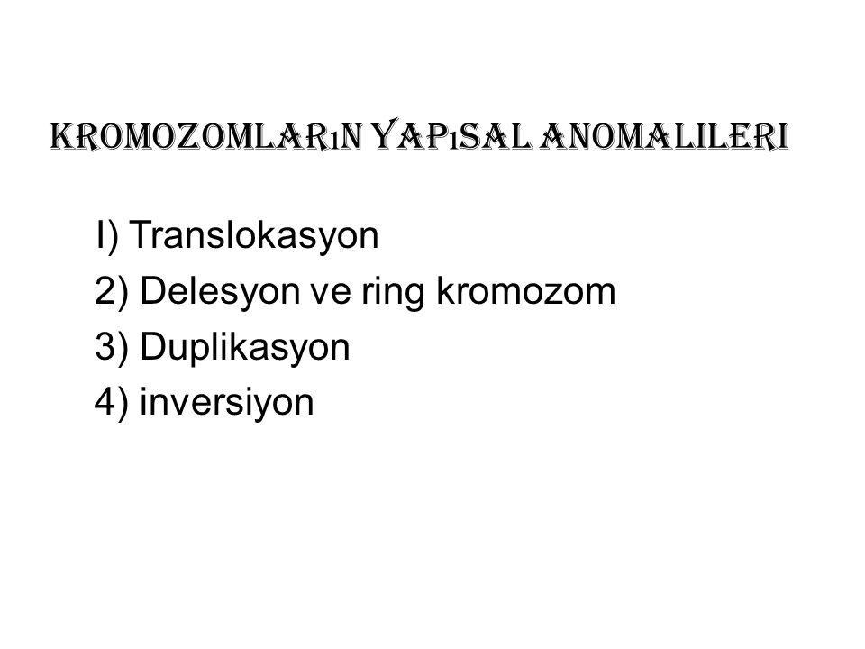 Kromozomlar ı n Yap ı sal Anomalileri I) Translokasyon 2) Delesyon ve ring kromozom 3) Duplikasyon 4) inversiyon