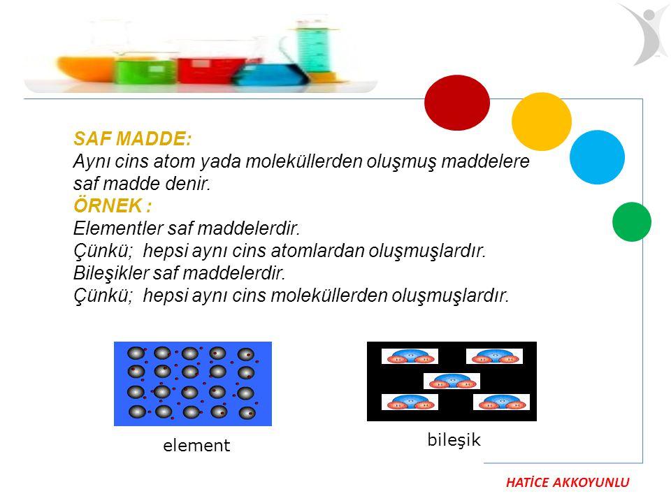 HATİCE AKKOYUNLU SAF MADDE: Aynı cins atom yada moleküllerden oluşmuş maddelere saf madde denir. ÖRNEK : Elementler saf maddelerdir. Çünkü; hepsi aynı