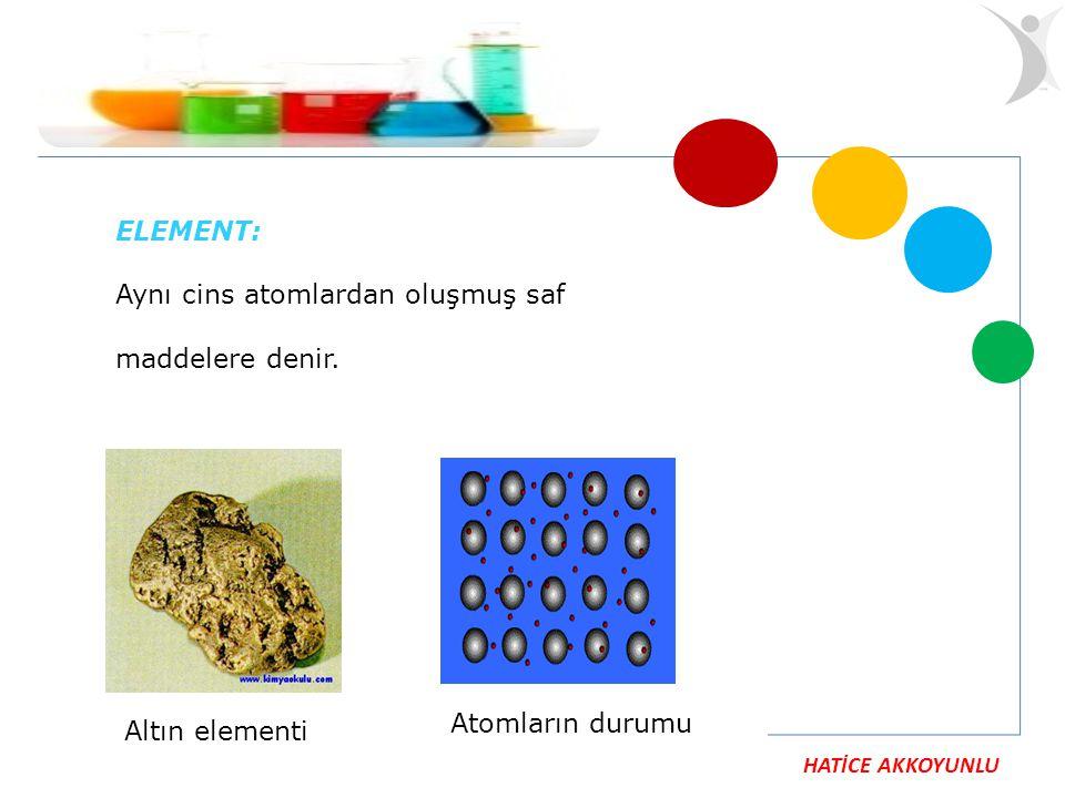 HATİCE AKKOYUNLU ELEMENT: Aynı cins atomlardan oluşmuş saf maddelere denir. Altın elementi Atomların durumu