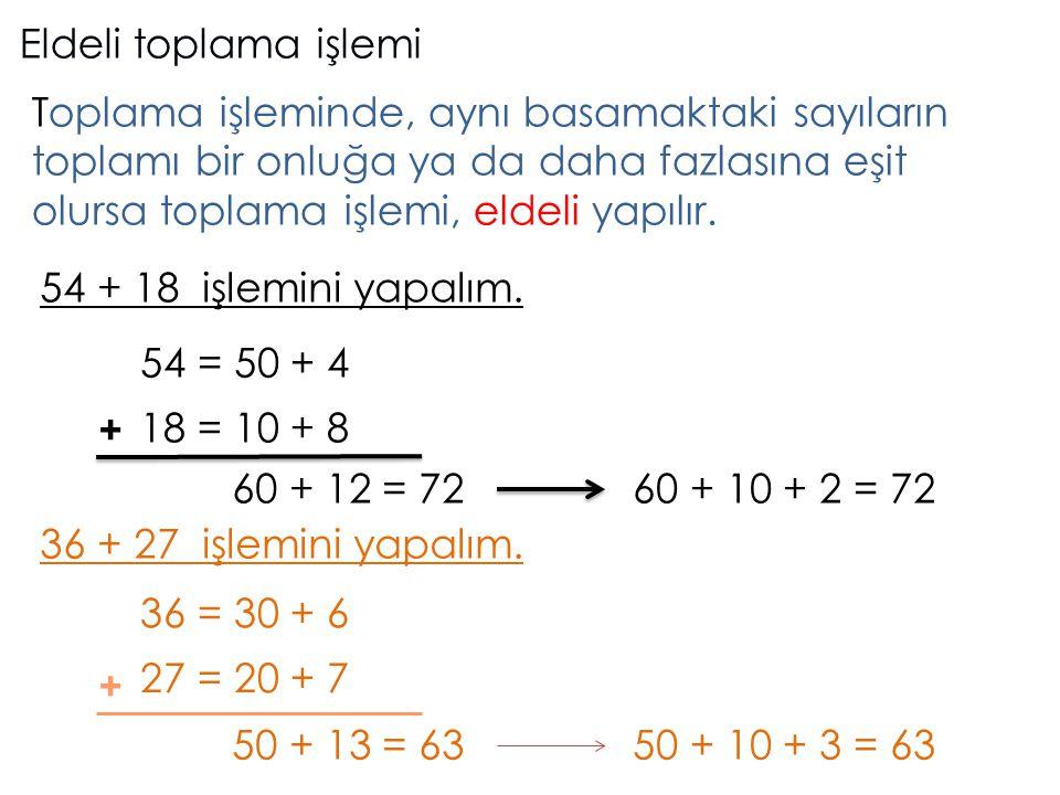 Eldeli toplama işlemi Toplama işleminde, aynı basamaktaki sayıların toplamı bir onluğa ya da daha fazlasına eşit olursa toplama işlemi, eldeli yapılır.