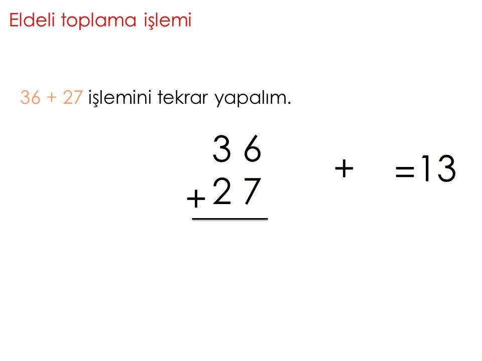 Eldeli toplama işlemi 36 + 27 işlemini tekrar yapalım. + 6 3 72 3 +67 = 3113 3 2 1 + + = 66