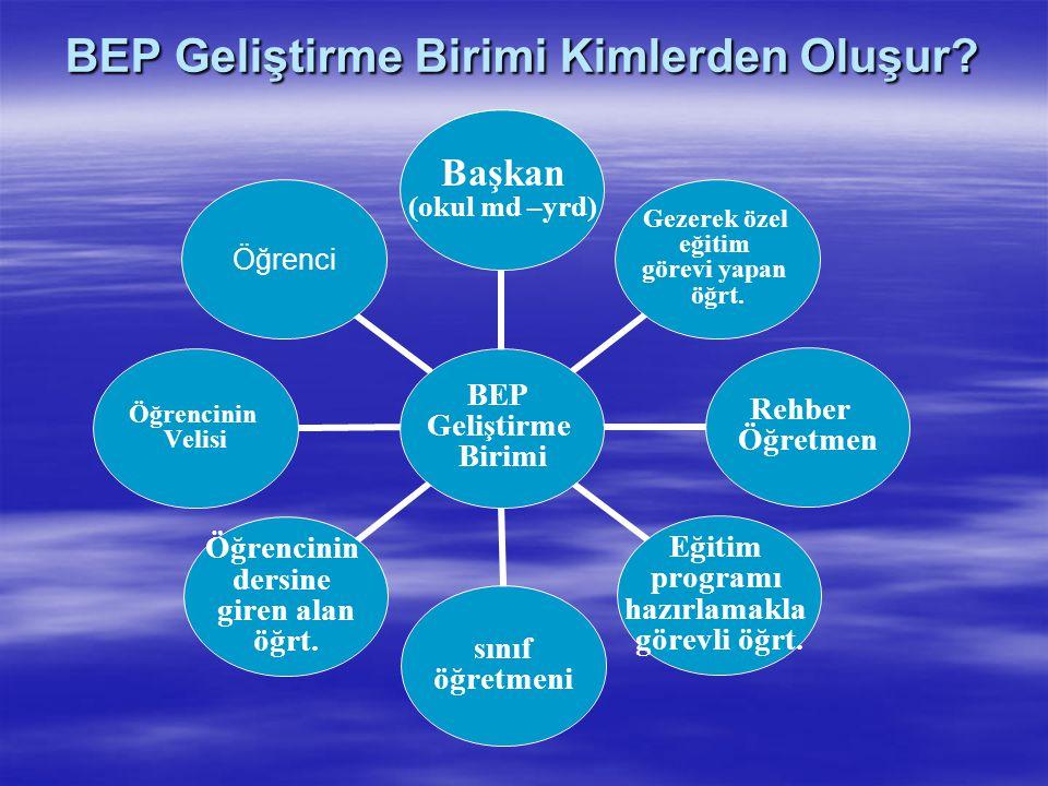 BEP Geliştirme Birimi Başkanı ve Görevleri Birim başkanının görevleri şunlardır:  a) BEP geliştirme birimini oluşturmak.