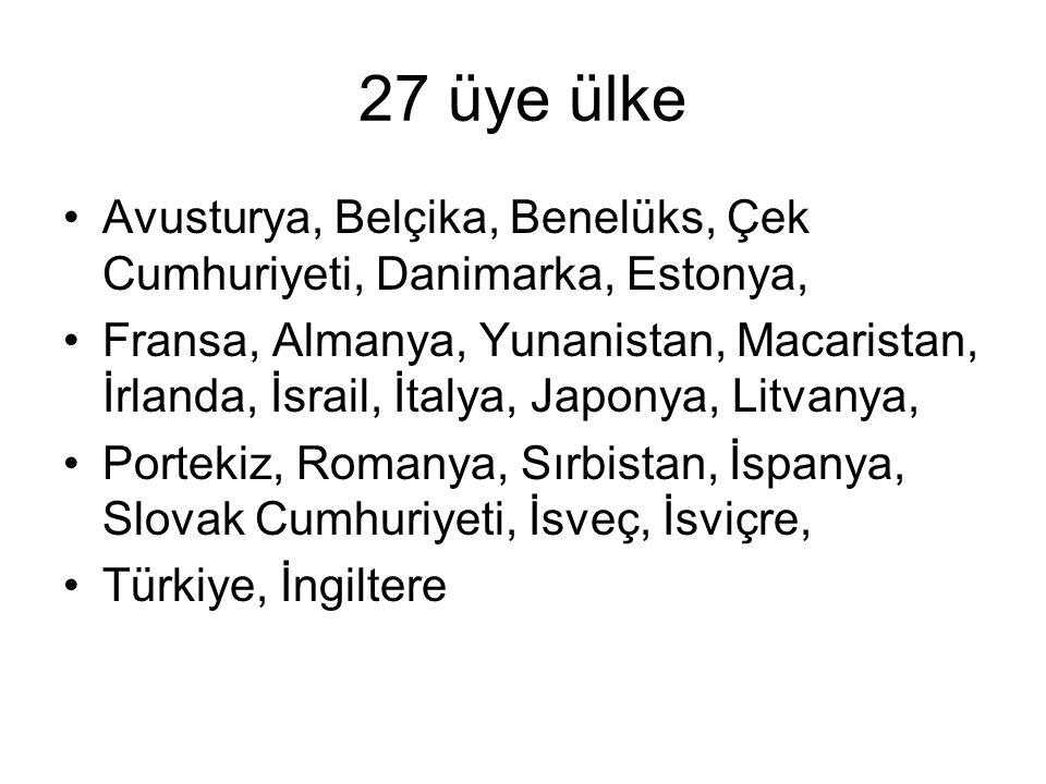 27 üye ülke Avusturya, Belçika, Benelüks, Çek Cumhuriyeti, Danimarka, Estonya, Fransa, Almanya, Yunanistan, Macaristan, İrlanda, İsrail, İtalya, Japonya, Litvanya, Portekiz, Romanya, Sırbistan, İspanya, Slovak Cumhuriyeti, İsveç, İsviçre, Türkiye, İngiltere
