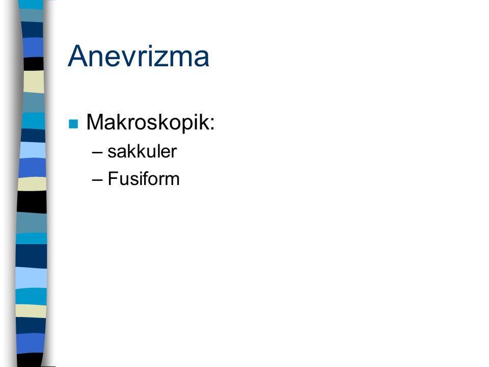 Anevrizma n Makroskopik: –sakkuler –Fusiform