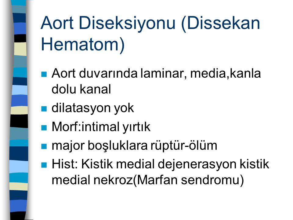 Aort Diseksiyonu (Dissekan Hematom) n Aort duvarında laminar, media,kanla dolu kanal n dilatasyon yok n Morf:intimal yırtık n major boşluklara rüptür-ölüm n Hist: Kistik medial dejenerasyon kistik medial nekroz(Marfan sendromu)