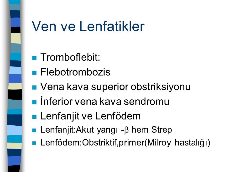 Ven ve Lenfatikler n Tromboflebit: n Flebotrombozis n Vena kava superior obstriksiyonu n İnferior vena kava sendromu n Lenfanjit ve Lenfödem n Lenfanjit:Akut yangı -  hem Strep n Lenfödem:Obstriktif,primer(Milroy hastalığı)