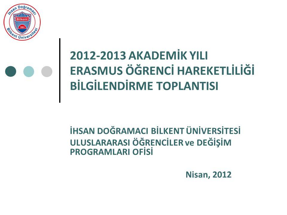 2012-2013 AKADEMİK YILI ERASMUS ÖĞRENCİ HAREKETLİLİĞİ BİLGİLENDİRME TOPLANTISI İHSAN DOĞRAMACI BİLKENT ÜNİVERSİTESİ ULUSLARARASI ÖĞRENCİLER ve DEĞİŞİM PROGRAMLARI OFİSİ Nisan, 2012