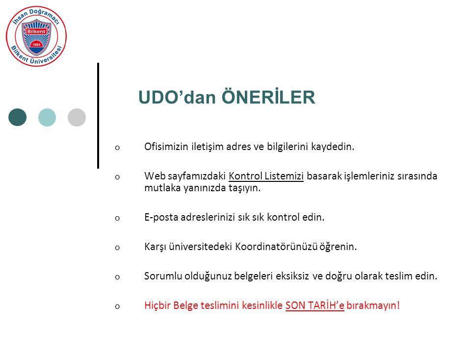 UDO'dan ÖNERİLER o Ofisimizin iletişim adres ve bilgilerini kaydedin.