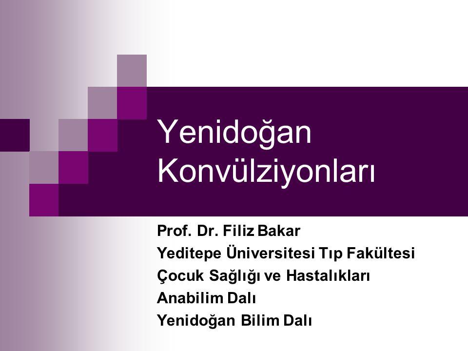 Yenidoğan Konvülziyonları Prof. Dr. Filiz Bakar Yeditepe Üniversitesi Tıp Fakültesi Çocuk Sağlığı ve Hastalıkları Anabilim Dalı Yenidoğan Bilim Dalı