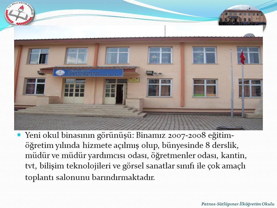 Yeni okul binasının görünüşü: Binamız 2007-2008 eğitim- öğretim yılında hizmete açılmış olup, bünyesinde 8 derslik, müdür ve müdür yardımcısı odası, ö
