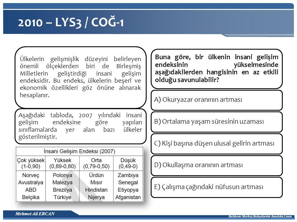 Mehmet Ali ERCAN Balıkesir Merkez Bahçelievler Anadolu Lisesi 2010 – LYS3 / COĞ-1 Ülkelerin gelişmişlik düzeyini belirleyen önemli ölçeklerden biri de Birleşmiş Milletlerin geliştirdiği insani gelişim endeksidir.