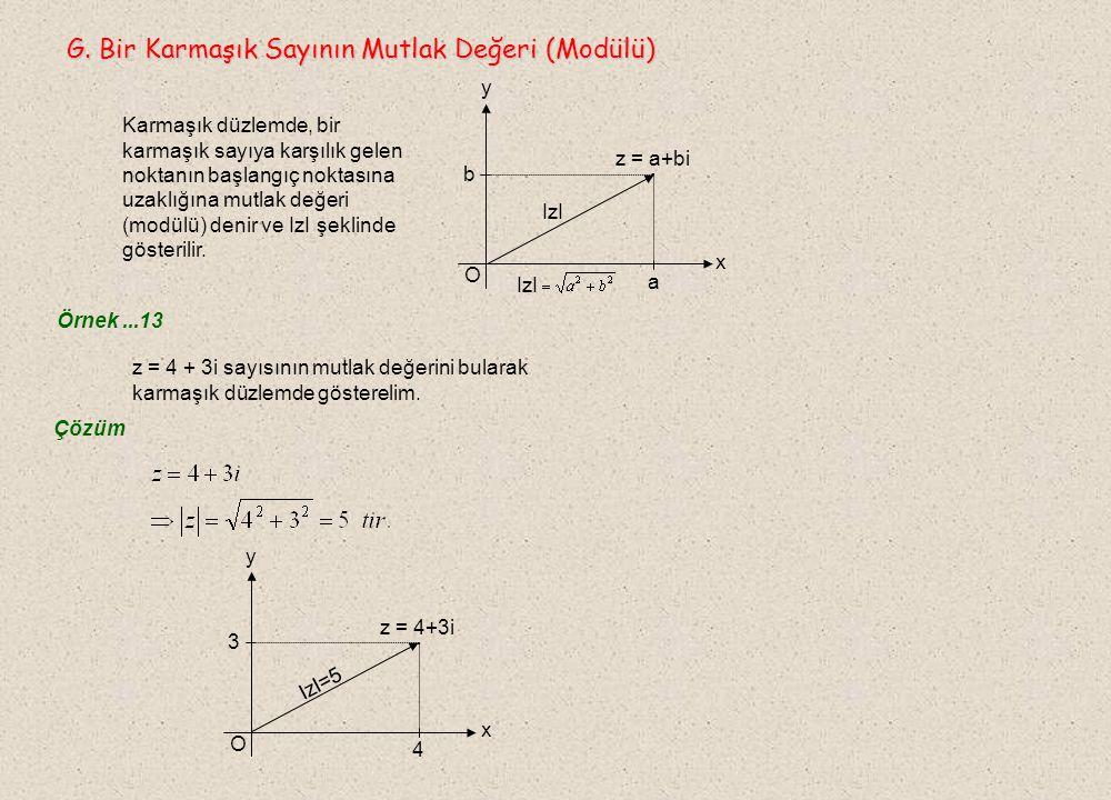 F. Karmaşık Düzlem ve Bir Karmaşık Sayının Görüntüsü F. Karmaşık Düzlem ve Bir Karmaşık Sayının Görüntüsü  İki boyutlu analitik düzlemdeki x eksenini