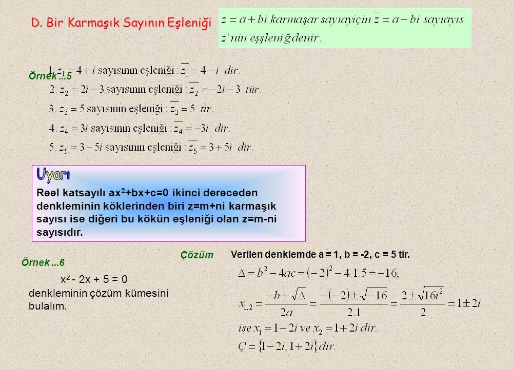C.İki Karmaşık Sayının Eşitliği C.