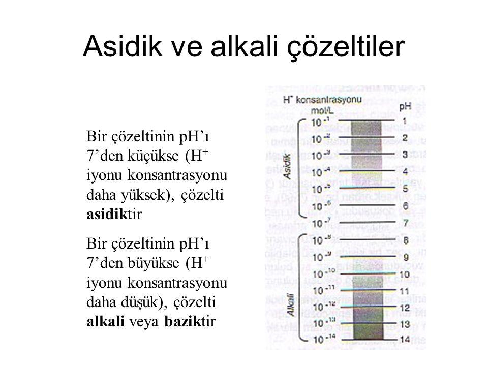 Asidik ve alkali çözeltiler Bir çözeltinin pH'ı 7'den küçükse (H + iyonu konsantrasyonu daha yüksek), çözelti asidiktir Bir çözeltinin pH'ı 7'den büyükse (H + iyonu konsantrasyonu daha düşük), çözelti alkali veya baziktir