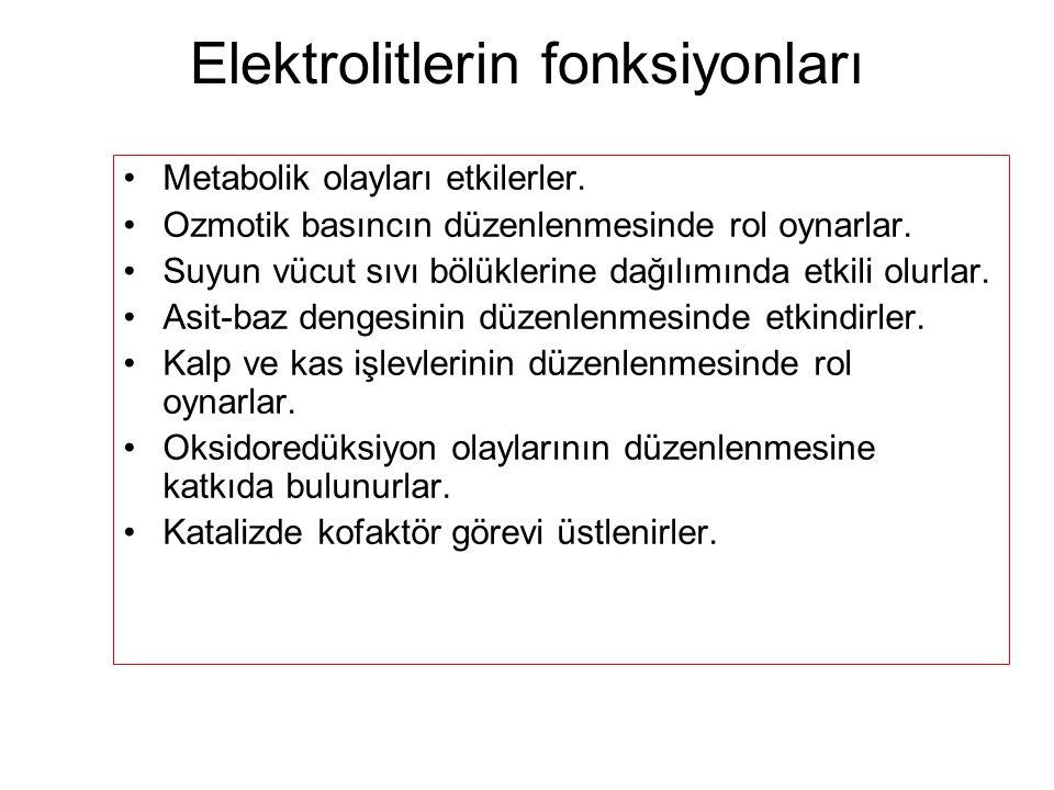 Elektrolitlerin fonksiyonları Metabolik olayları etkilerler. Ozmotik basıncın düzenlenmesinde rol oynarlar. Suyun vücut sıvı bölüklerine dağılımında e