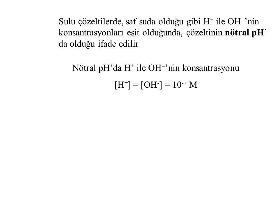 Sulu çözeltilerde, saf suda olduğu gibi H + ile OH  'nin konsantrasyonları eşit olduğunda, çözeltinin nötral pH' da olduğu ifade edilir Nötral pH'da H + ile OH  'nin konsantrasyonu [H + ] = [OH - ] = 10 -7 M