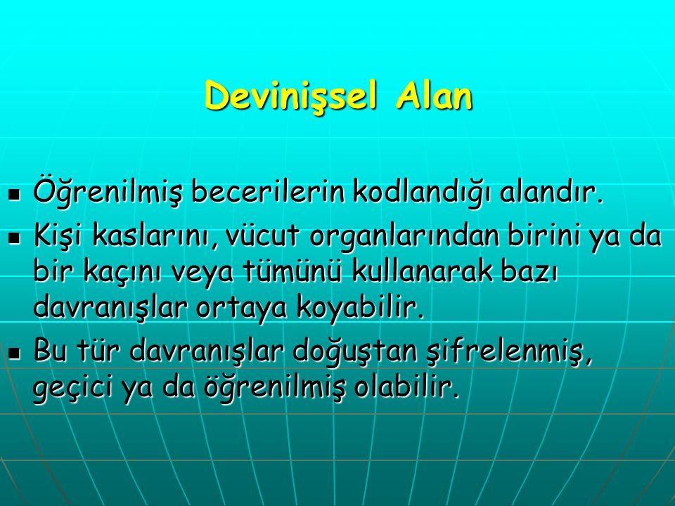Devinişsel Alan Öğrenilmiş becerilerin kodlandığı alandır.