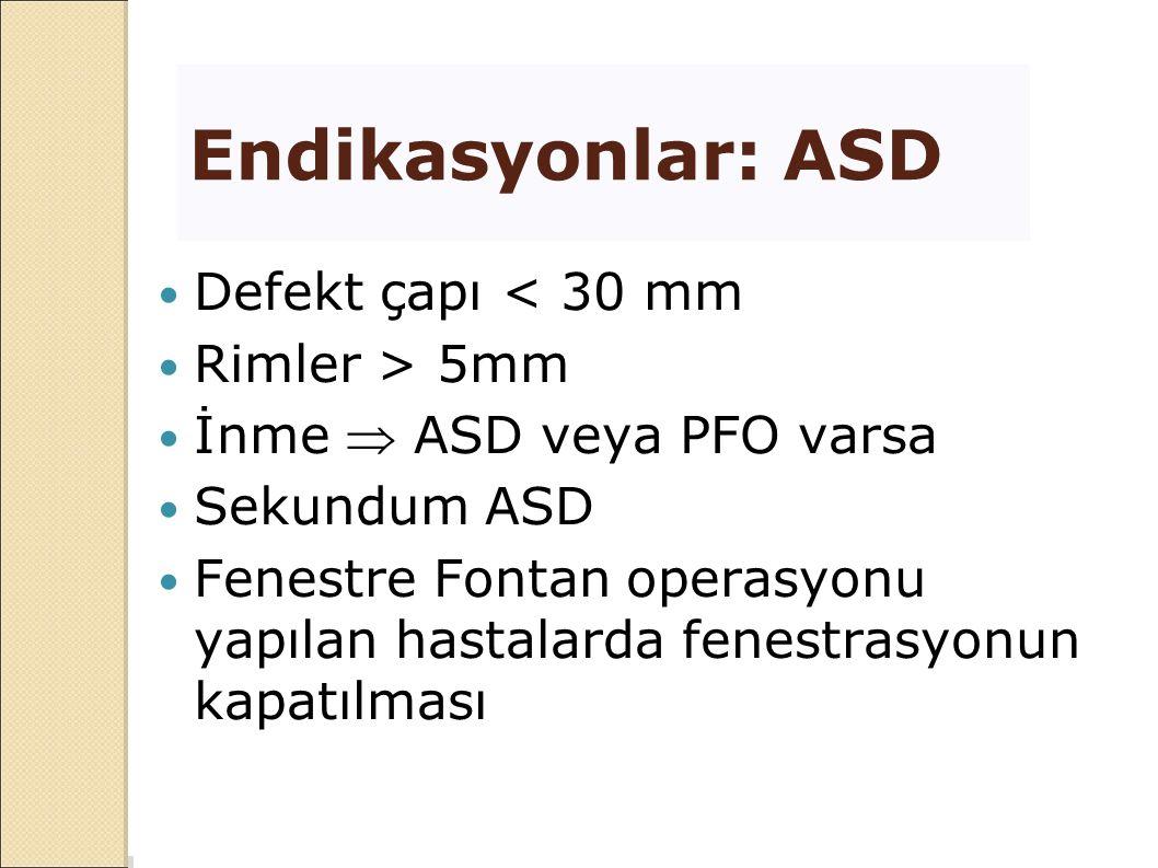 Endikasyonlar: ASD Defekt çapı < 30 mm Rimler > 5mm İnme  ASD veya PFO varsa Sekundum ASD Fenestre Fontan operasyonu yapılan hastalarda fenestrasyonu