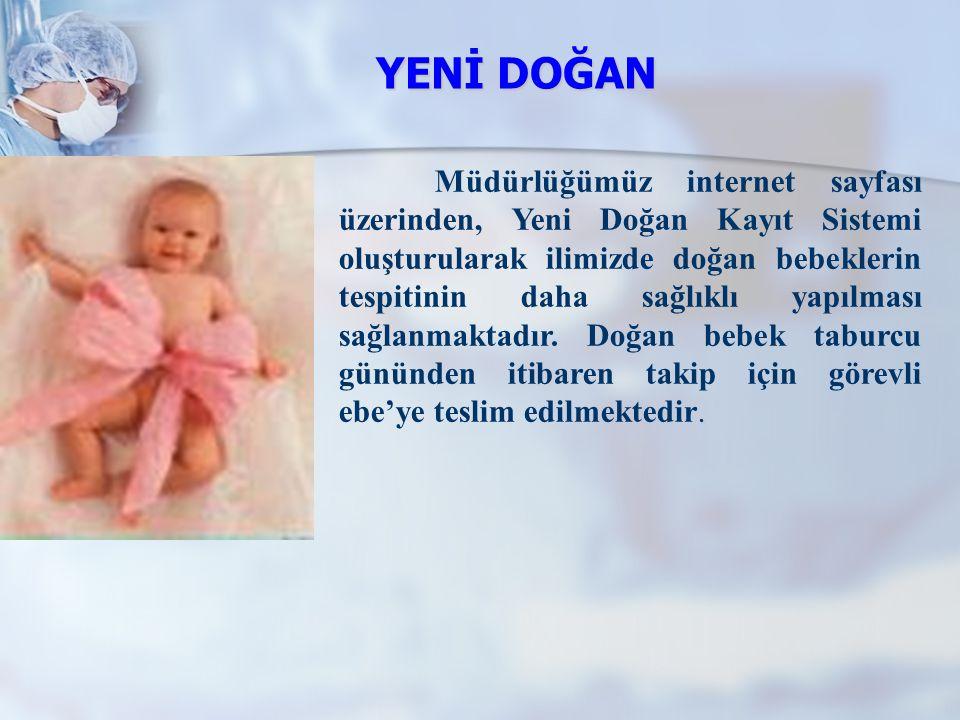 YENİ DOĞAN. Müdürlüğümüz internet sayfası üzerinden, Yeni Doğan Kayıt Sistemi oluşturularak ilimizde doğan bebeklerin tespitinin daha sağlıklı yapılma