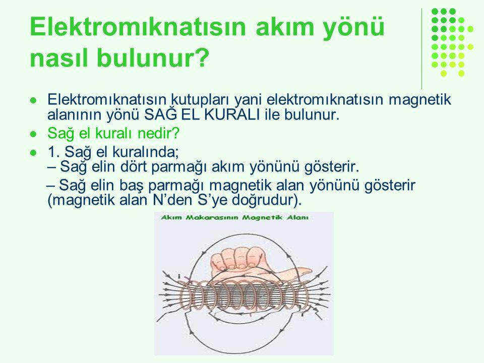 Elektromıknatısın akım yönü nasıl bulunur? Elektromıknatısın kutupları yani elektromıknatısın magnetik alanının yönü SAĞ EL KURALI ile bulunur. Sağ el