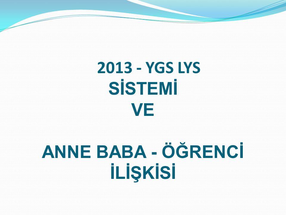 2013 - YGS LYS SİSTEMİ VE ANNE BABA - ÖĞRENCİ İLİŞKİSİ