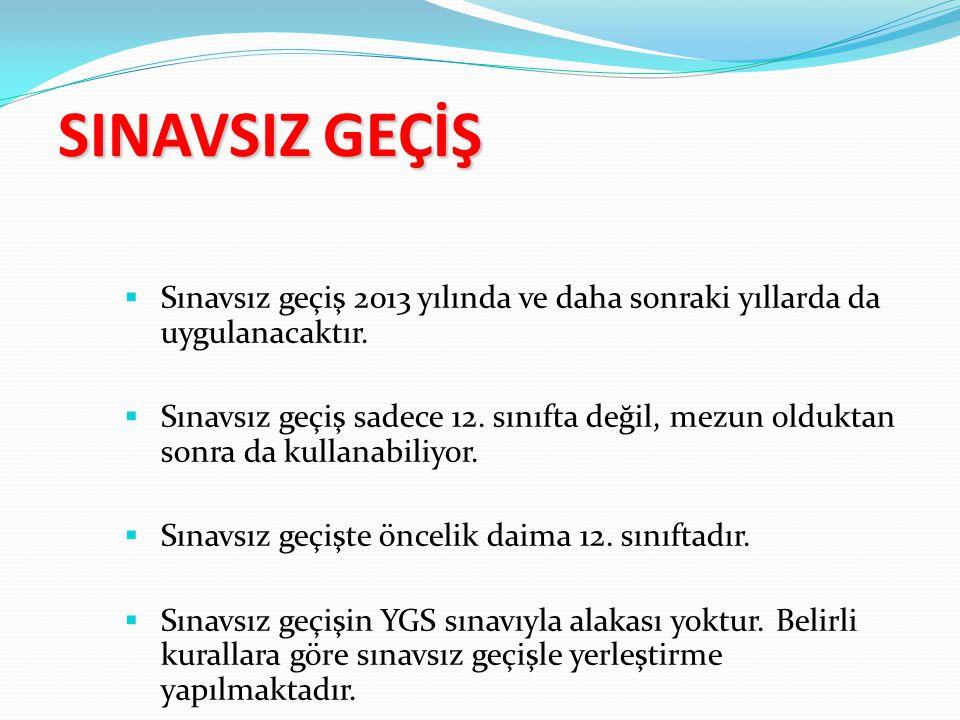 SINAVSIZ GEÇİŞ  Sınavsız geçiş 2013 yılında ve daha sonraki yıllarda da uygulanacaktır.