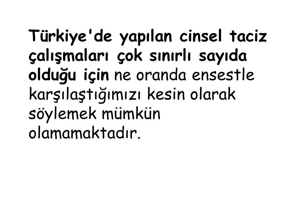 Türkiye'de yapılan cinsel taciz çalışmaları çok sınırlı sayıda olduğu için ne oranda ensestle karşılaştığımızı kesin olarak söylemek mümkün olamamakta