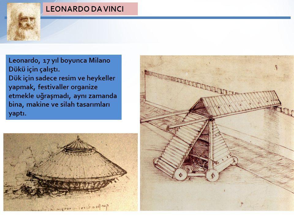 Leonardo, 17 yıl boyunca Milano Dükü için çalıştı. Dük için sadece resim ve heykeller yapmak, festivaller organize etmekle uğraşmadı, aynı zamanda bin