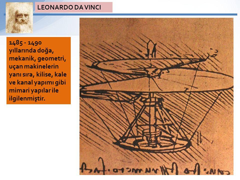 1485 - 1490 yıllarında doğa, mekanik, geometri, uçan makinelerin yanı sıra, kilise, kale ve kanal yapımı gibi mimari yapılar ile ilgilenmiştir. LEONAR