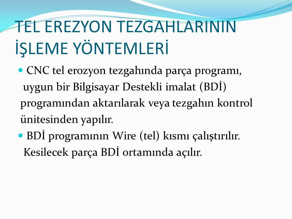 TEL EREZYON TEZGAHLARININ İŞLEME YÖNTEMLERİ CNC tel erozyon tezgahında parça programı, uygun bir Bilgisayar Destekli imalat (BDİ) programından aktarıl