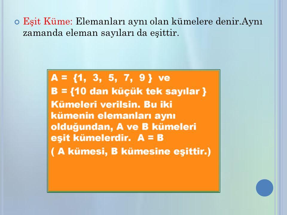 Eşit Küme: Elemanları aynı olan kümelere denir.Aynı zamanda eleman sayıları da eşittir.