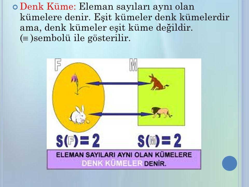 Denk Küme: Eleman sayıları aynı olan kümelere denir.