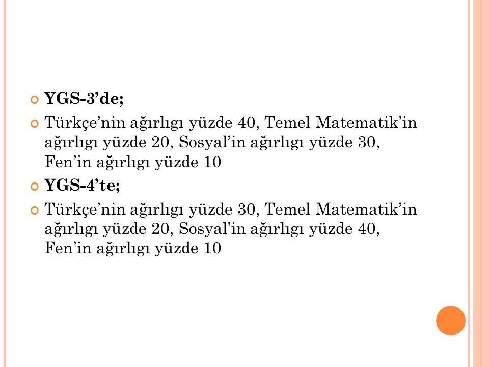 YGS-3'de; Türkçe'nin ağırlıgı yüzde 40, Temel Matematik'in ağırlıgı yüzde 20, Sosyal'in ağırlıgı yüzde 30, Fen'in ağırlıgı yüzde 10 YGS-4'te; Türkçe'n