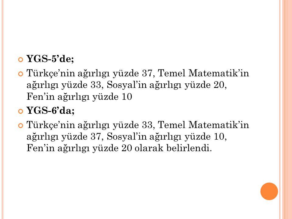 YGS-5'de; Türkçe'nin ağırlıgı yüzde 37, Temel Matematik'in ağırlıgı yüzde 33, Sosyal'in ağırlıgı yüzde 20, Fen'in ağırlıgı yüzde 10 YGS-6'da; Türkçe'n