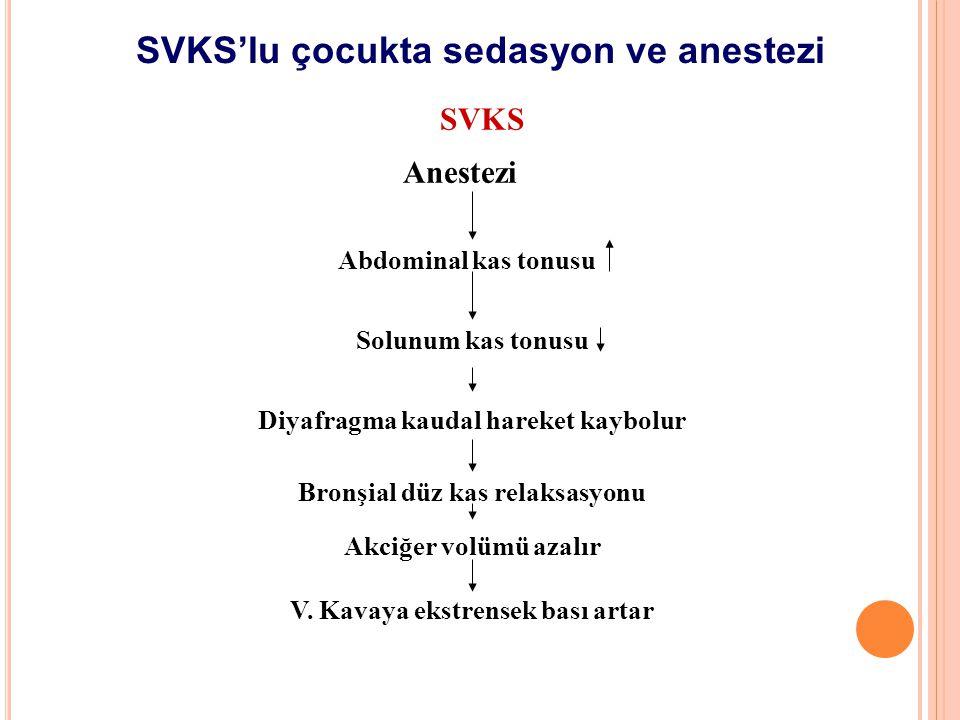Anestezi Abdominal kas tonusu Solunum kas tonusu Diyafragma kaudal hareket kaybolur SVKS Bronşial düz kas relaksasyonu Akciğer volümü azalır V. Kavaya