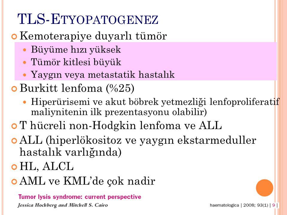 TLS-E TYOPATOGENEZ Kemoterapiye duyarlı tümör Büyüme hızı yüksek Tümör kitlesi büyük Yaygın veya metastatik hastalık Burkitt lenfoma (%25) Hiperürisemi ve akut böbrek yetmezliği lenfoproliferatif maliynitenin ilk prezentasyonu olabilir) T hücreli non-Hodgkin lenfoma ve ALL ALL (hiperlökositoz ve yaygın ekstarmeduller hastalık varlığında) HL, ALCL AML ve KML'de çok nadir