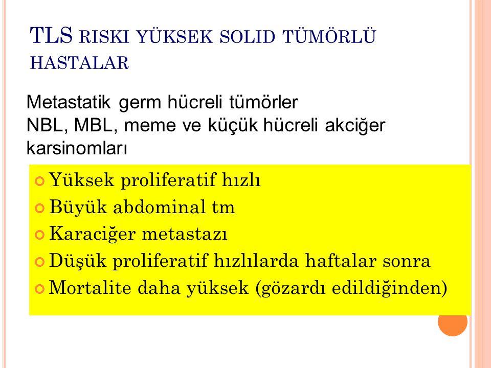 TLS RISKI YÜKSEK SOLID TÜMÖRLÜ HASTALAR Yüksek proliferatif hızlı Büyük abdominal tm Karaciğer metastazı Düşük proliferatif hızlılarda haftalar sonra Mortalite daha yüksek (gözardı edildiğinden) Metastatik germ hücreli tümörler NBL, MBL, meme ve küçük hücreli akciğer karsinomları