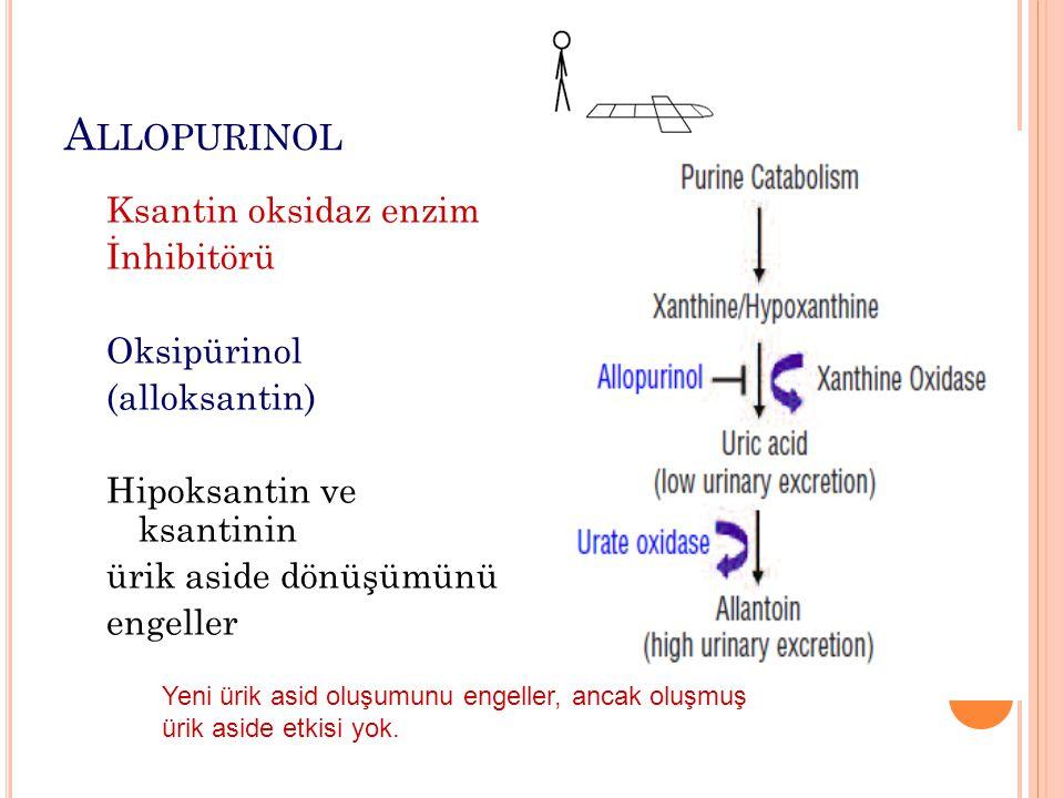 A LLOPURINOL Ksantin oksidaz enzim İnhibitörü Oksipürinol (alloksantin) Hipoksantin ve ksantinin ürik aside dönüşümünü engeller Yeni ürik asid oluşumu