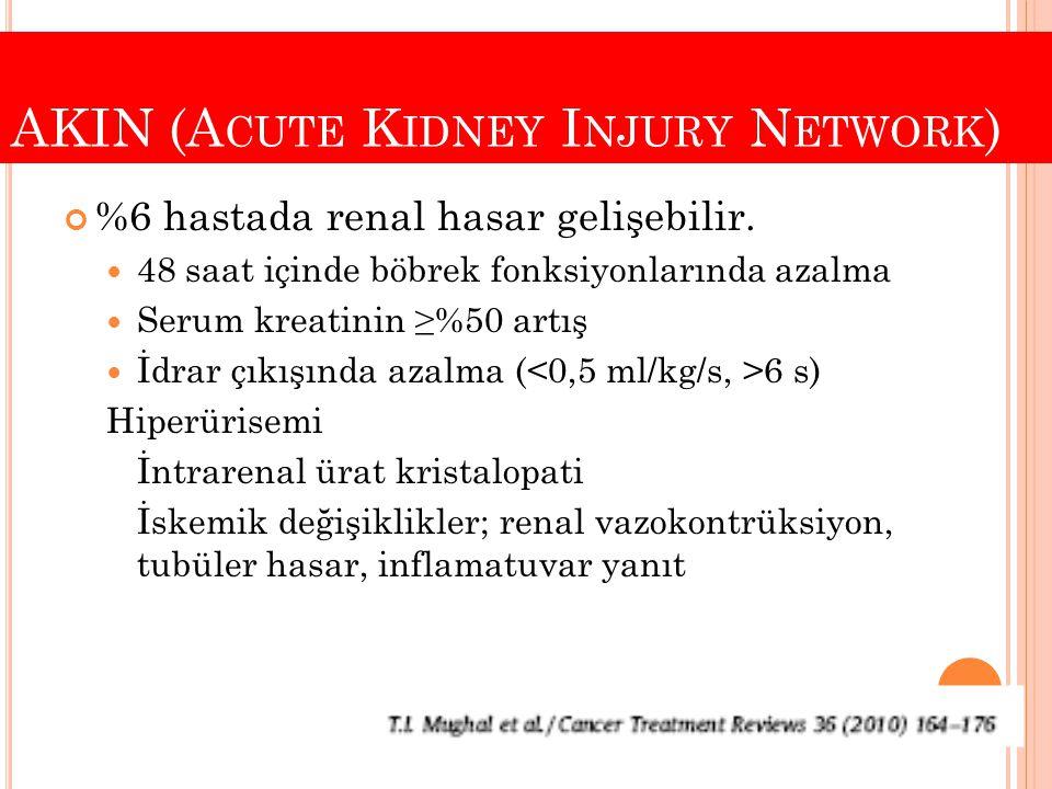AKIN (A CUTE K IDNEY I NJURY N ETWORK ) %6 hastada renal hasar gelişebilir. 48 saat içinde böbrek fonksiyonlarında azalma Serum kreatinin ≥%50 artış İ