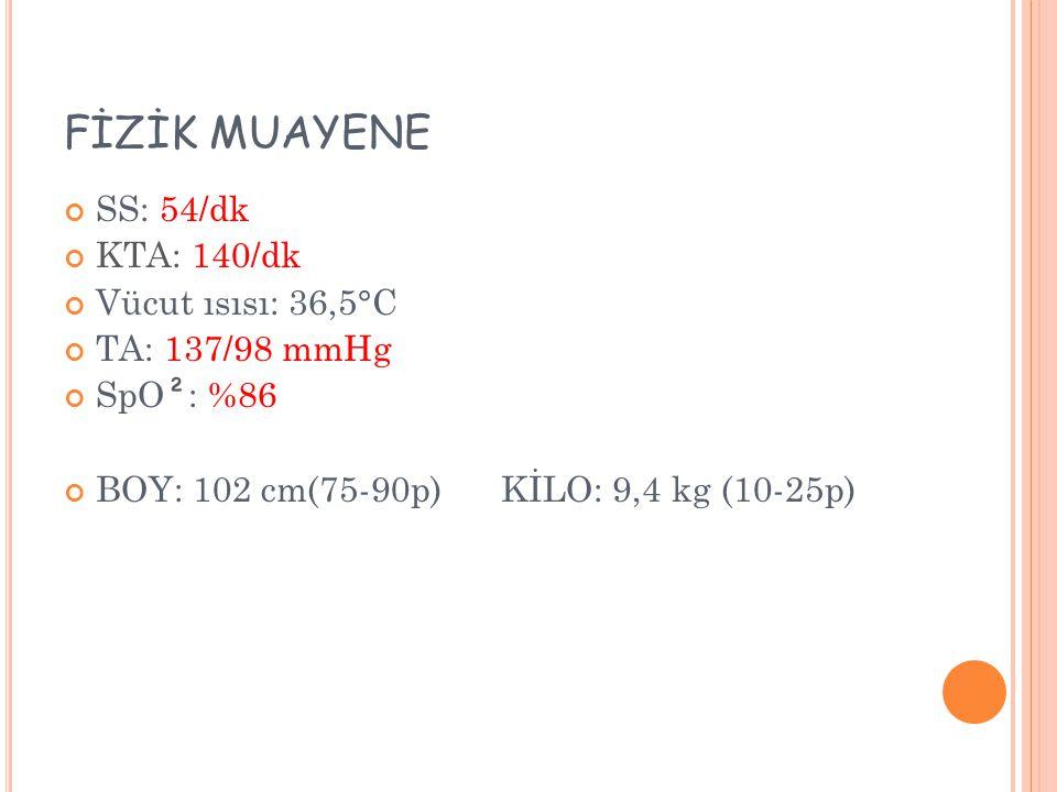 FİZİK MUAYENE SS: 54/dk KTA: 140/dk Vücut ısısı: 36,5°C TA: 137/98 mmHg SpO ² : %86 BOY: 102 cm(75-90p) KİLO: 9,4 kg (10-25p)
