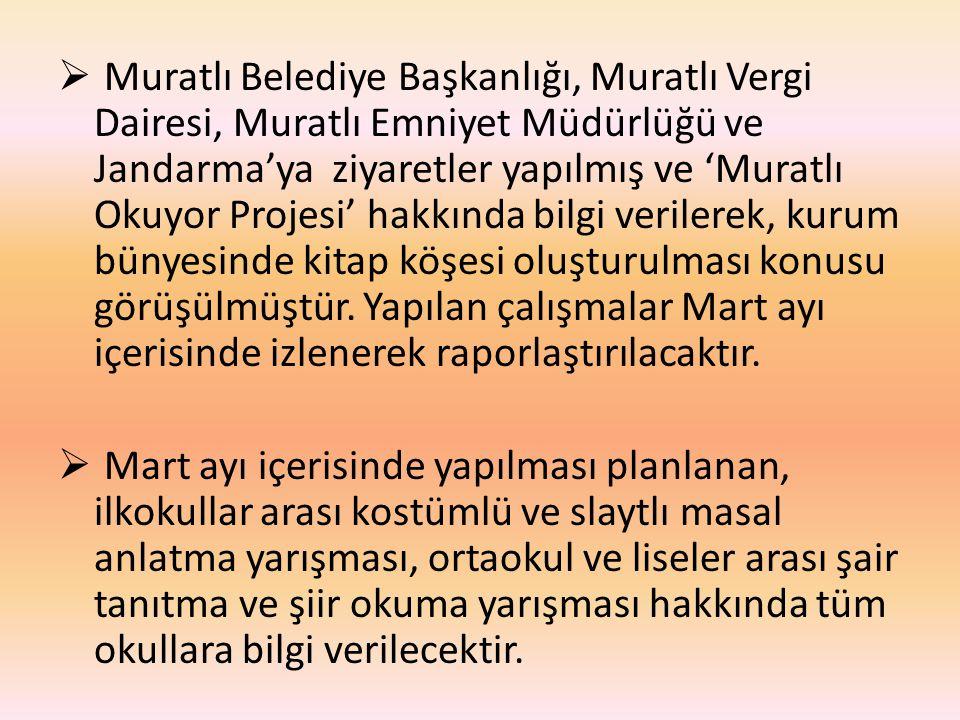  Muratlı Belediye Başkanlığı, Muratlı Vergi Dairesi, Muratlı Emniyet Müdürlüğü ve Jandarma'ya ziyaretler yapılmış ve 'Muratlı Okuyor Projesi' hakkında bilgi verilerek, kurum bünyesinde kitap köşesi oluşturulması konusu görüşülmüştür.