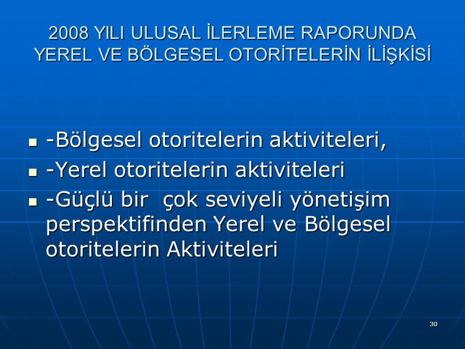 30 2008 YILI ULUSAL İLERLEME RAPORUNDA YEREL VE BÖLGESEL OTORİTELERİN İLİŞKİSİ -Bölgesel otoritelerin aktiviteleri, -Bölgesel otoritelerin aktiviteleri, -Yerel otoritelerin aktiviteleri -Yerel otoritelerin aktiviteleri -Güçlü bir çok seviyeli yönetişim perspektifinden Yerel ve Bölgesel otoritelerin Aktiviteleri -Güçlü bir çok seviyeli yönetişim perspektifinden Yerel ve Bölgesel otoritelerin Aktiviteleri