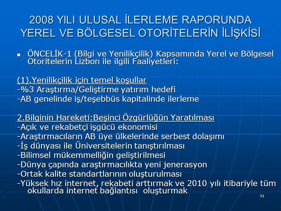 31 2008 YILI ULUSAL İLERLEME RAPORUNDA YEREL VE BÖLGESEL OTORİTELERİN İLİŞKİSİ ÖNCELİK-1 (Bilgi ve Yenilikçilik) Kapsamında Yerel ve Bölgesel Otoritelerin Lizbon ile ilgili Faaliyetleri: ÖNCELİK-1 (Bilgi ve Yenilikçilik) Kapsamında Yerel ve Bölgesel Otoritelerin Lizbon ile ilgili Faaliyetleri: (1).Yenilikçilik için temel koşullar -%3 Araştırma/Geliştirme yatırım hedefi -AB genelinde iş/teşebbüs kapitalinde ilerleme 2.Bilginin Hareketi:Beşinci Özgürlüğün Yaratılması -Açık ve rekabetçi işgücü ekonomisi -Araştırmacıların AB üye ülkelerinde serbest dolaşımı -İş dünyası ile Üniversitelerin tanıştırılması -Bilimsel mükemmelliğin geliştirilmesi -Dünya çapında araştırmacılıkta yeni jenerasyon -Ortak kalite standartlarının oluşturulması -Yüksek hız internet, rekabeti arttırmak ve 2010 yılı itibariyle tüm okullarda internet bağlantısı oluşturmak