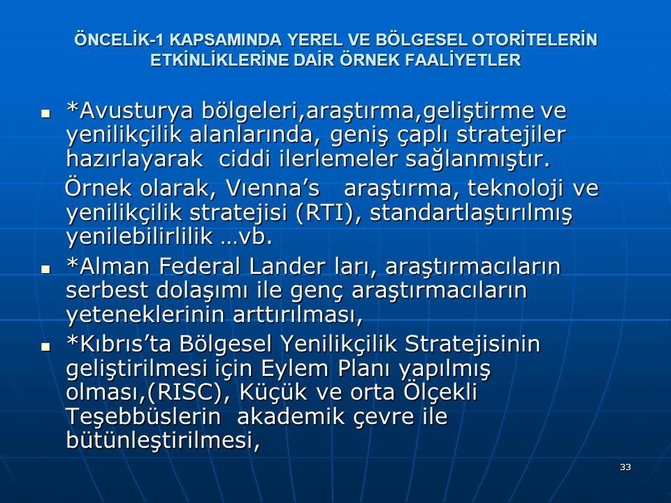 33 ÖNCELİK-1 KAPSAMINDA YEREL VE BÖLGESEL OTORİTELERİN ETKİNLİKLERİNE DAİR ÖRNEK FAALİYETLER *Avusturya bölgeleri,araştırma,geliştirme ve yenilikçilik alanlarında, geniş çaplı stratejiler hazırlayarak ciddi ilerlemeler sağlanmıştır.