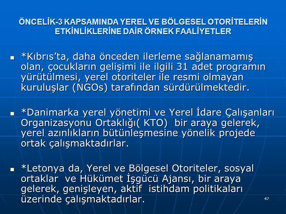 47 ÖNCELİK-3 KAPSAMINDA YEREL VE BÖLGESEL OTORİTELERİN ETKİNLİKLERİNE DAİR ÖRNEK FAALİYETLER *Kıbrıs'ta, daha önceden ilerleme sağlanamamış olan, çocukların gelişimi ile ilgili 31 adet programın yürütülmesi, yerel otoriteler ile resmi olmayan kuruluşlar (NGOs) tarafından sürdürülmektedir.