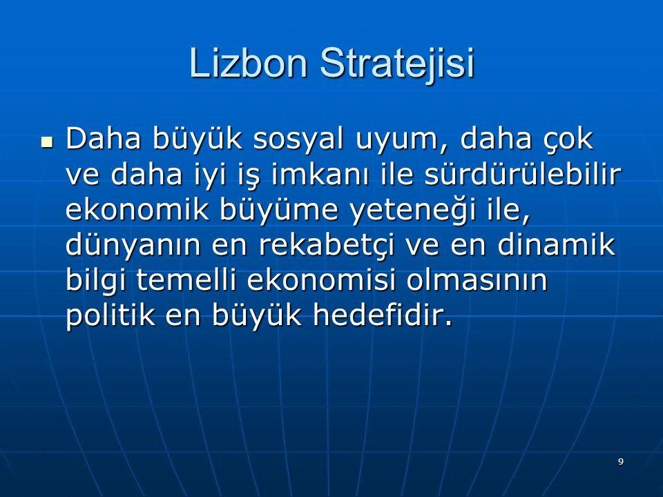 9 Lizbon Stratejisi Daha büyük sosyal uyum, daha çok ve daha iyi iş imkanı ile sürdürülebilir ekonomik büyüme yeteneği ile, dünyanın en rekabetçi ve en dinamik bilgi temelli ekonomisi olmasının politik en büyük hedefidir.