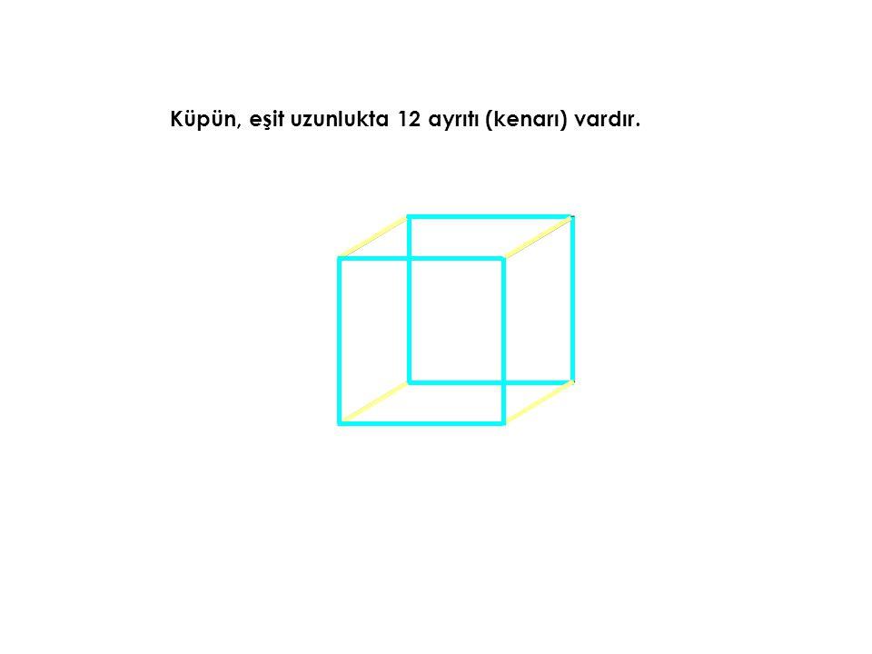 Küpün, eşit uzunlukta 12 ayrıtı (kenarı) vardır.