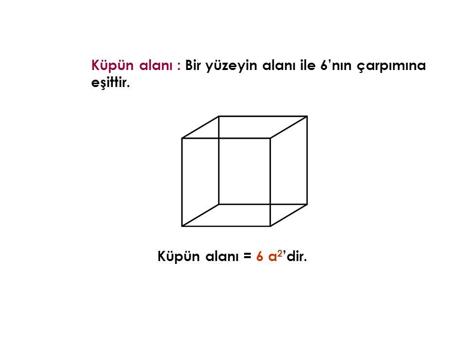 Küpün alanı : Bir yüzeyin alanı ile 6'nın çarpımına eşittir. Küpün alanı = 6 a 2 'dir.